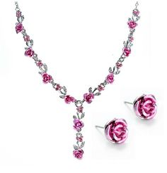 Reflections of Rose Necklace and Stud Earring Set - Available in Three Colors