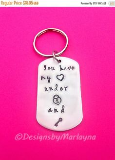 Anniversary Gifts for Men, Boyfriend Gifts, Hand Stamped Key Chain, Personalized Jewelry, heart lock & key, Christmas Gifts, Gifts for him
