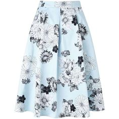 Miss Selfridge Pale Blue Floral Graphic Skirt (81 BRL) ❤ liked on Polyvore featuring skirts, bottoms, miss selfridge, mint green, pale blue skirt, floral skirt, blue skirts and flower print skirt