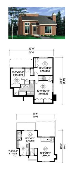 Saltbox Style COOL House Plan ID: chp-31651 | Total Living Area: 1305 sq. ft., 3 bedrooms and 1.5 bathrooms. #saltboxhome