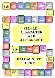 English worksheet: People - appearance and character - boardgame (editable, B/W)