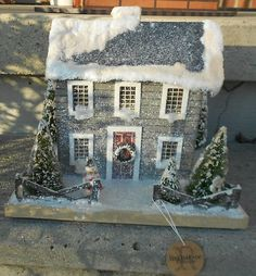 Colonial Saltbox Primitive Lighted Putz Grey Christmas House Paper Mache | eBay