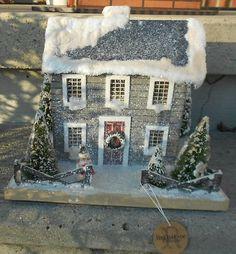 Colonial Saltbox Primitive Lighted Putz Grey Christmas House Paper Mache | eBay
