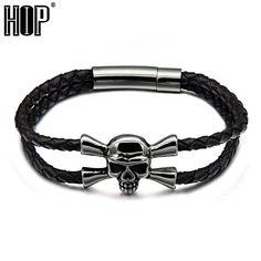 HIP Punk Vintage Stainless Steel Magnet 23cm Black Double Handmade Weave Skeleton SkullBangles for Men Jewelry