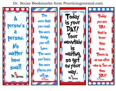 Dr. Seuss Bookmarks with quotes, free printable from Practicingnormal.com #bookmark #DrSeuss #freeprintable #practicingnormal