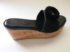 $148 Brand New Coach Jazmin Canvascork Black Wedge Sandals – Size 6