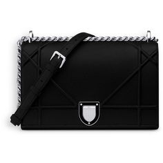 """""""DIORAMA"""" BAG IN BLACK GRAINED CALFSKIN ❤ liked on Polyvore featuring bags, handbags, calfskin purse, calfskin bag, calfskin leather handbags, calf leather handbags and calfskin handbag"""