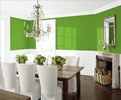 Look at the paint color combination I created with Benjamin Moore. Via @benjamin_moore. Wall: Baby Fern 2029-20; Trim