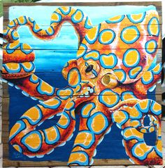 Blue ringed octopus painting on reclaimed wood. Prints available. Octopus Drawing, Octopus Painting, Octopus Art, Turtle Painting, Painting & Drawing, Shark Art, Nautical Art, Mural Art, Psychedelic Art