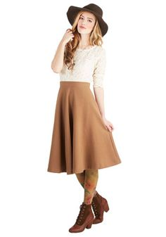 Field Notable Skirt by Pink Martini - Woven, Long, Tan, Solid, Pockets, Work, Daytime Party, Minimal, Basic, Ballerina / Tutu, Brown