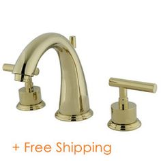 Kingston Brass Manhattan Polished Brass Widespread Bathroom Sink Faucet with Drain at Lowe's. Embellish your contemporary home with the swankiness and elegance that this faucet provides. Ideal for more spacious bathrooms, widespread faucets are Brass Faucet, Widespread Bathroom Faucet, Lavatory Faucet, Contemporary Bathroom Sink Faucets, Bathroom Faucets, Bathrooms, Polished Brass, Solid Brass, Kingston Brass