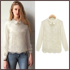 DIVAINTL Women Blouse Chiffon Long Sleeve Peter pan Collar Causal Chiffon  Lace Blouse women 2014 Spring 2318cc8a8