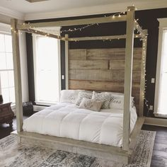 Shannon Reclaimed Wood Bed (White) No Canopy ($3,000) ❤ liked on Polyvore featuring home, furniture, beds, bedroom furniture, beds & headboards, grey, home & living, queen platform bed, white queen platform bed and gray headboard