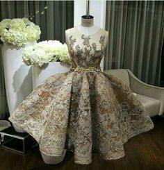 Unique round neck lace ball gown short prom dresses for teens. Cute bridesmaid dress 2017, evening dress, wedding party dresses