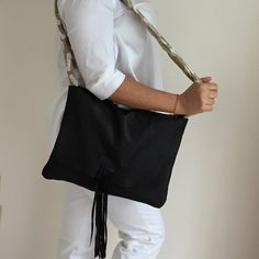 Just One collection OOAK slouchy big bag with tassel bespoke. Deerskin and cotton velvet Crossbody strap