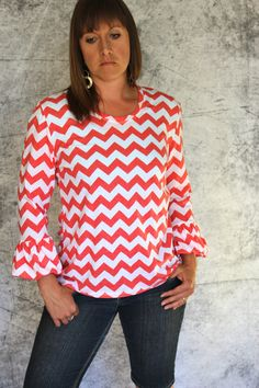 Women's Bella Bubble Sleeve Knit Top in Coral and by Gogreenstyle, $52.00