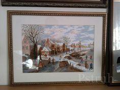 Набор от Риолис. Зимний пейзаж по картинам Питера Брейгеля. Работа вышита более 10 лет назад,...