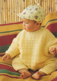 PDF Baby Boy or Girl Romper Suit Knitting Pattern : Babies 3, 6 and 12 months . DK . Playsuit . Instant Digital Download by…
