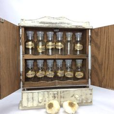 WHITE SPICE RACK For Sale Vintage Rustic Spice Rack With 12 Spice Jars Cottage Kitchen Decor
