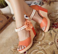 ENMAYER 2014 Fashion Women's Wedges Shoes Flower High Heels Platform Open Toe Ankle Straps Sandals Summer Pumps Free Shipping $70.63