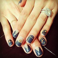Studded Blue Nails
