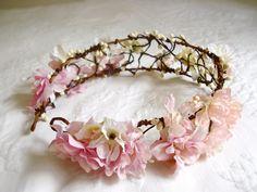 Flower Head Wreath wired to headband very cute