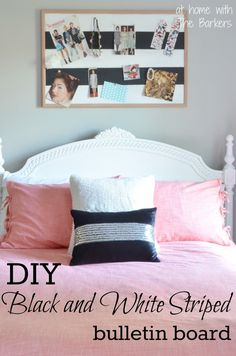 How to paint stripes-DIY black and white striped bulletin board with Glidden paint. #ad
