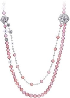 Limelight Garden Party - Piaget Rose long necklace - in 18K white gold set with 477 brilliant-cut diamonds (approx. 10.49 ct) and 85 pink opal and sculpted white chalcedony beads.
