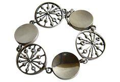 "Jorma Laine for Kultateollisuus Ky, ""Wheel"" (Laikka) modernist bracelet, in sterling silver. | onekingslane.com #Finland"