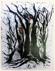 gespensterwald, unikater holzschnitt, verlorene platten, 2014,