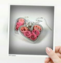 Paper Quilled Earrings, Sweetheart Filigree - silver and pink hearts, paper…