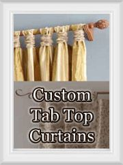 Custom Tab Top Curtains and draperies: gathered tabs for unique drape header style |Best Window Treatments