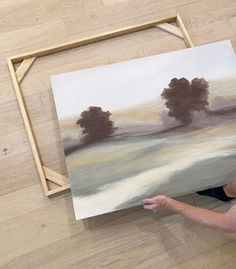 Back with Part 2 of my DIY landscape art project—make sure to check out yesterday's post first if you missed my painting tutorial! Once the painting was dry, we got to work building the frame… Floating Canvas Frame, Diy Canvas Frame, Framing Canvas Art, Frames For Canvas Paintings, Frame A Canvas Painting, Canvas Display, Canvas Ideas, Painting Art, Diy Wall Art