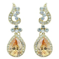 "Ever Faith 18K GP Floral Leaf Drop Pierced Dangle Earring Austrian Crystal Topaz Ever Faith. $20.95. Floral Leaf Drop Pierced Dangle Earring. 1.89"" by 0.59"". Austrian Crystal (one of the best quality crystals in the world ). This is a real fancy jewelry piece that will adds a trendy look to you!"
