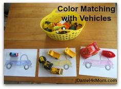 Color matching and other fun activities with vehicles