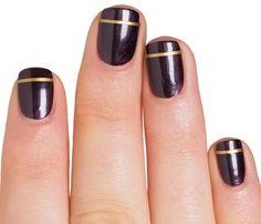 Elegant gold stripe decals for easy nail art.