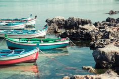 Pastel boats in Sicily -  8x12 beach photography italy prints mediterranean sea water watercolor turquoise red blue pastel summer nautical