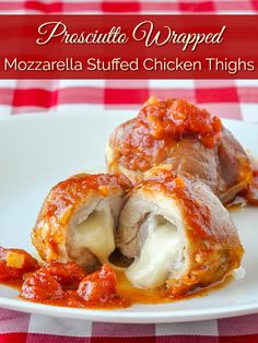 Stuffed Chicken Thighs with Mozzarella Prosciutto & Quick Tomato Sauce. Easy enough for a delicious family dinner but fancy enough to serve at your next dinner party too. Prosciutto, Turkey Recipes, Potato Recipes, Turkey Meals, Baked Garlic Chicken, Summer Salad Recipes, Avocado Recipes, Mozzarella Chicken, Chicken Thigh Recipes