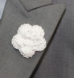 Crochet Mens Lapel Accent Flower Buttonhole by LittleMonkeyShop, $7.50 White