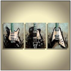 Guitar Painting, Music Studio Decor, Gift for guys, Teal & Black Guitars Flying V, Les Paul, Strat, Original Painting on canvas by Magda Magier