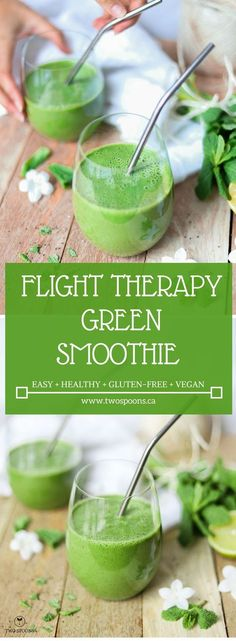 FLIGHT THERAPY GREEN SMOOTHIE | easy, healthy, gluten-free, vegan | TWO SPOONS