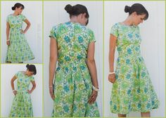 Free Sewing Pattern: Woman's short-sleeved, gathered-sleeved dress, from sewastraightline.com