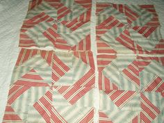 7 Hand Stitched 1900's Pinwheel Quilt Blocks Squares Stripe Fabrics - The Gatherings Antique Vintage