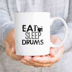 "Gift for drummer, ""Eat sleep drums"" boyfriend gift, gift for dad, graduation gift ideas for drum lovers, funny coffee mugs, birthday MU532 by artRuss on Etsy"