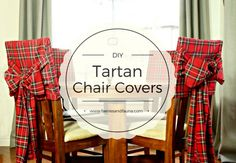 Make these beautiful tartan chair covers for Christmas decor. No pattern required, tutorial provided. Diy Christmas Cards, Christmas Sewing, Plaid Christmas, Christmas Crafts, Christmas Decorations, Vintage Christmas, Tartan Chair, Winter Wonderland Christmas Party, Christmas Chair Covers