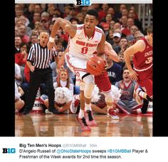 2-9-2015 D'ANGELO RUSSELL SWEEPS B1G PLAYER AND FRESHMAN OF THE WEEK FOR THE 2ND TIME THIS SEASON. Osu Basketball, Ohio State University, Buckeyes, Freshman, Seasons, Sports, Men, Hs Sports, Seasons Of The Year
