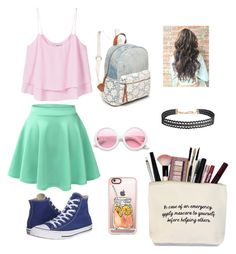 """""""Back to school"""" by izzybelle717 on Polyvore featuring LE3NO, MANGO, Converse, Red Camel, ZeroUV, Casetify and Humble Chic"""