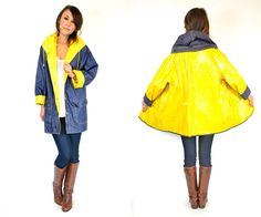 yellow & navy blue REVERSIBLE waterproof by discoleafvintage, $64.00