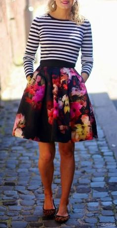 Floral skirt + striped top
