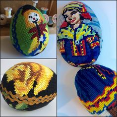 Easter eggs made of vintage needlepoints. #remake #eastereggs #pixelart #present